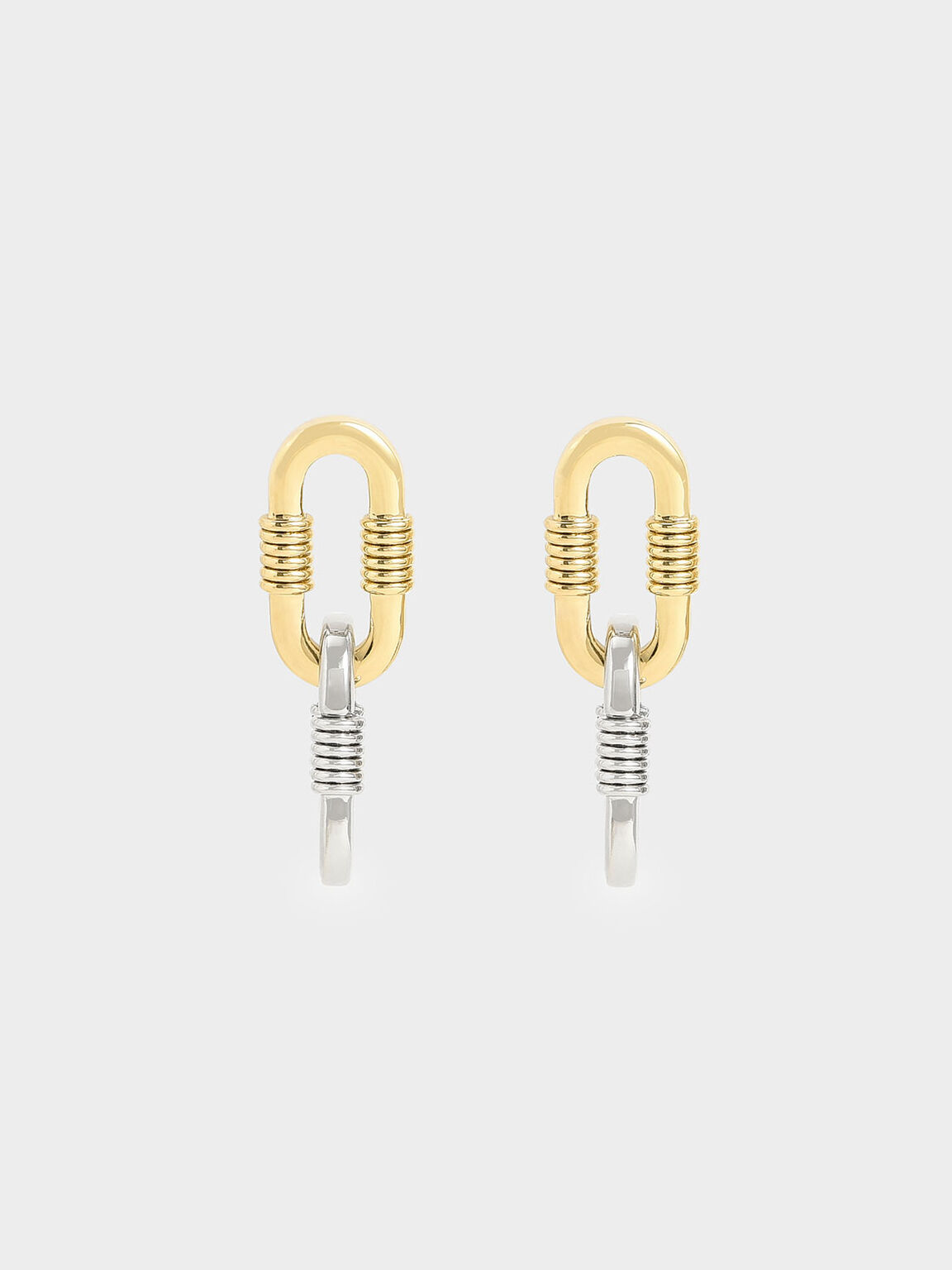 Ribbed Chain Link Drop Earrings, Multi, hi-res