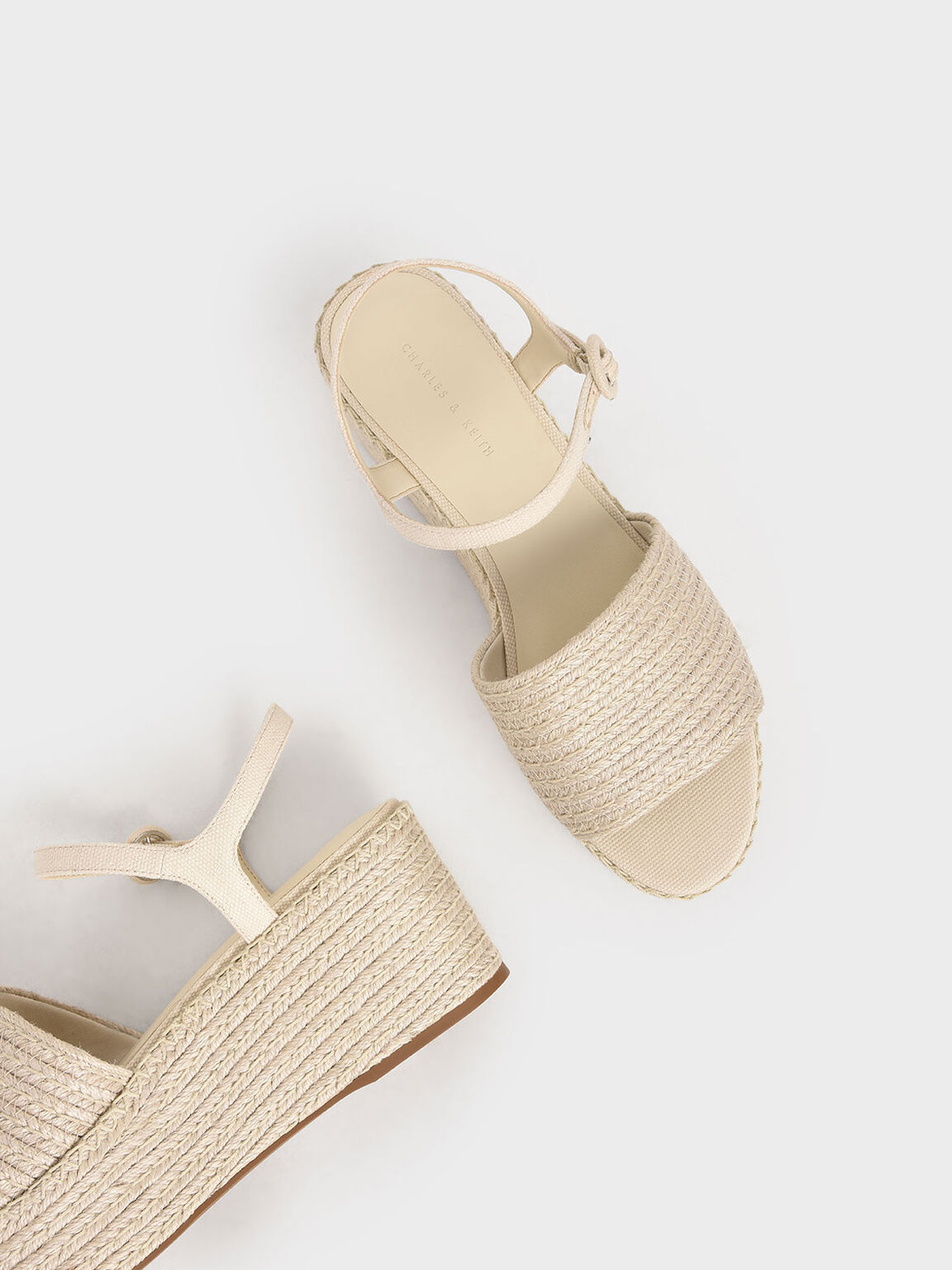 Espadrille Platform Sandals, Cream, hi-res