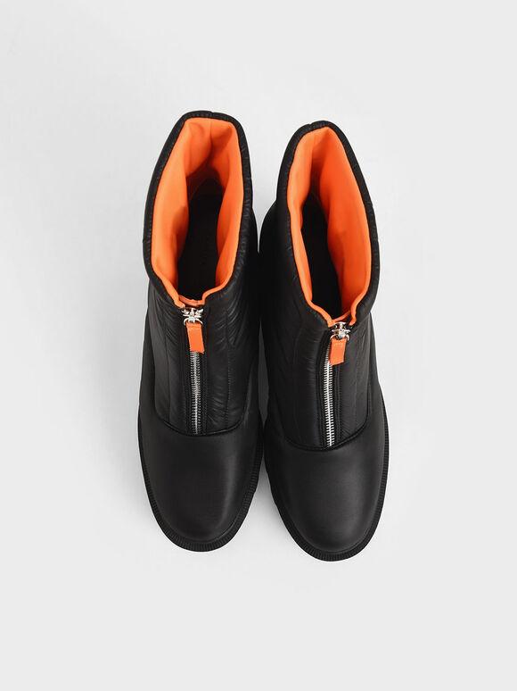 Nylon Front Zip Ankle Boots, Black, hi-res