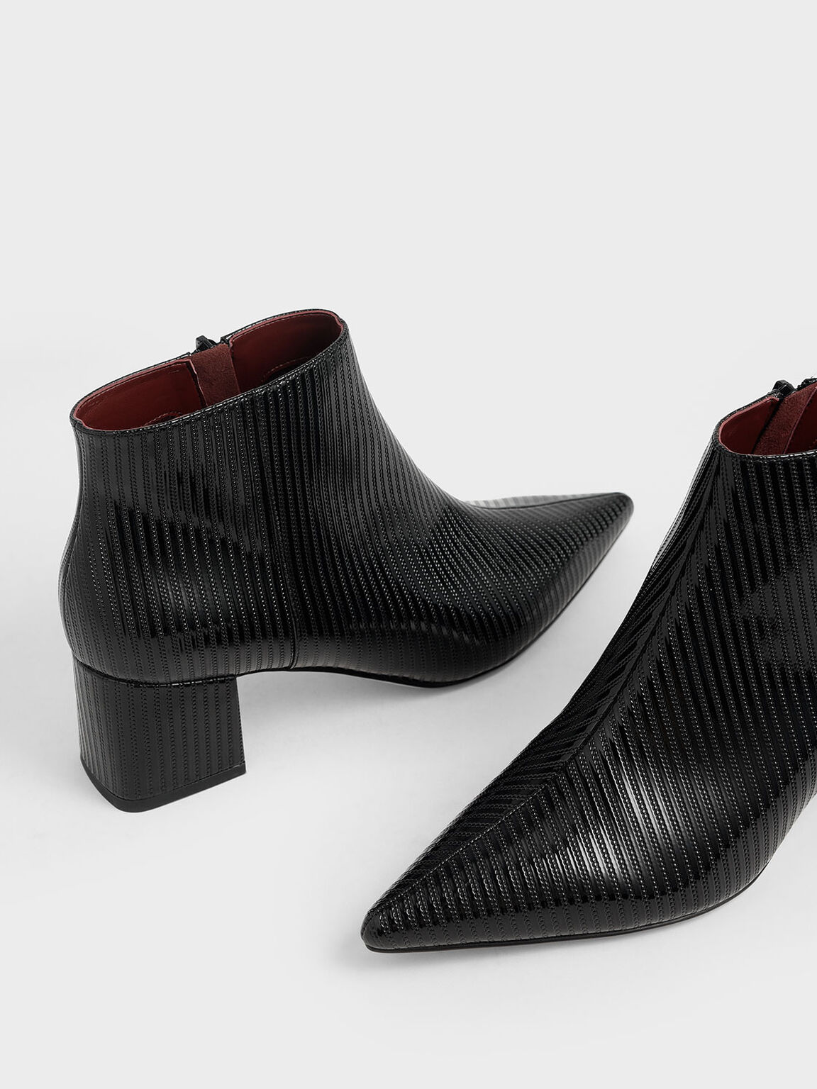 Patent Ankle Boots, Black Textured, hi-res