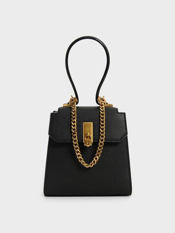Top Handle Chain Link Trapeze Bag, Black, hi-res