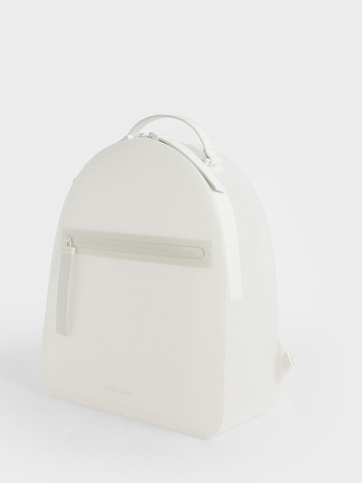 Front Zip Backpack, White, hi-res