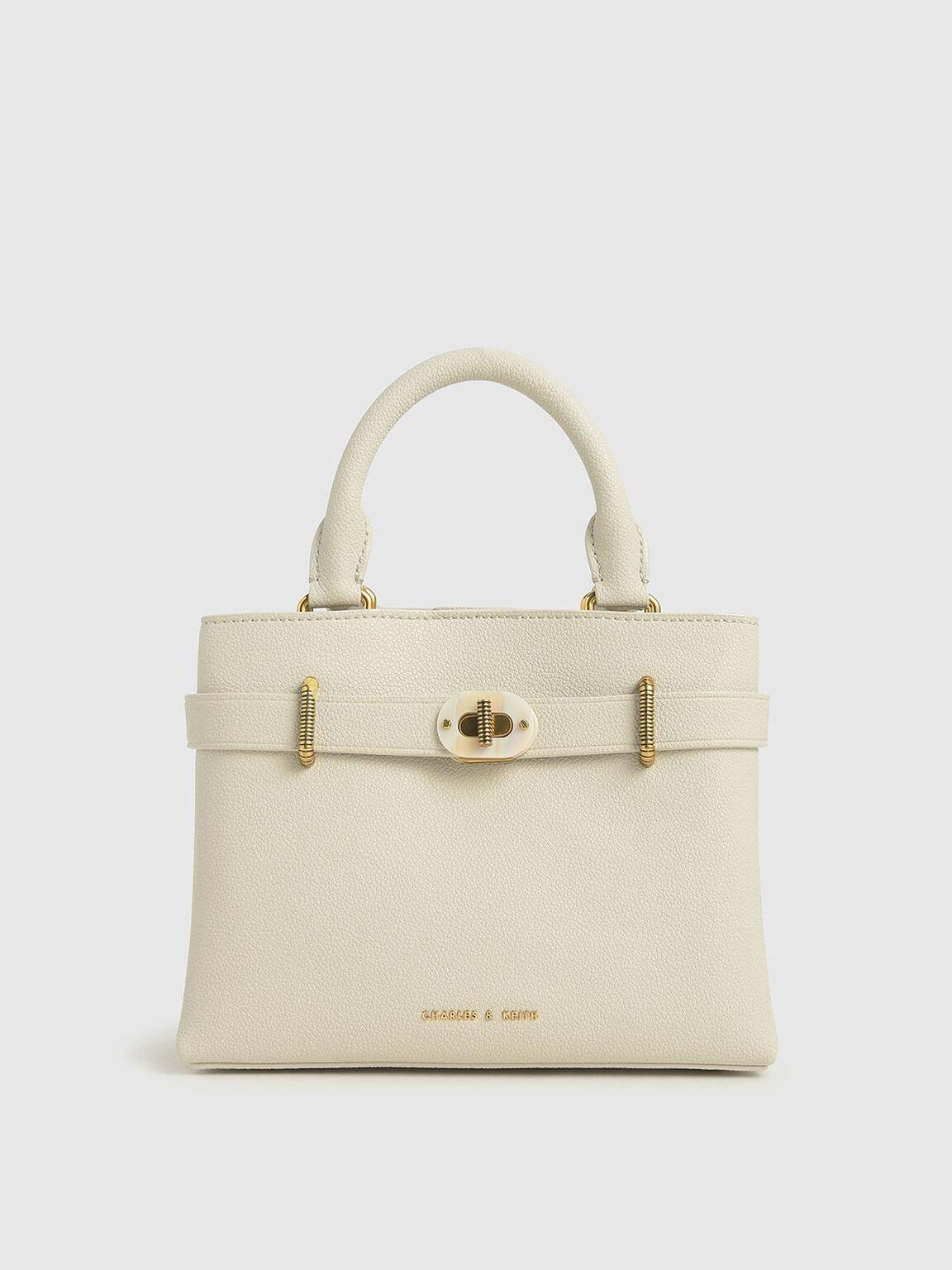 Turn-Lock Tote Bag, Cream, hi-res