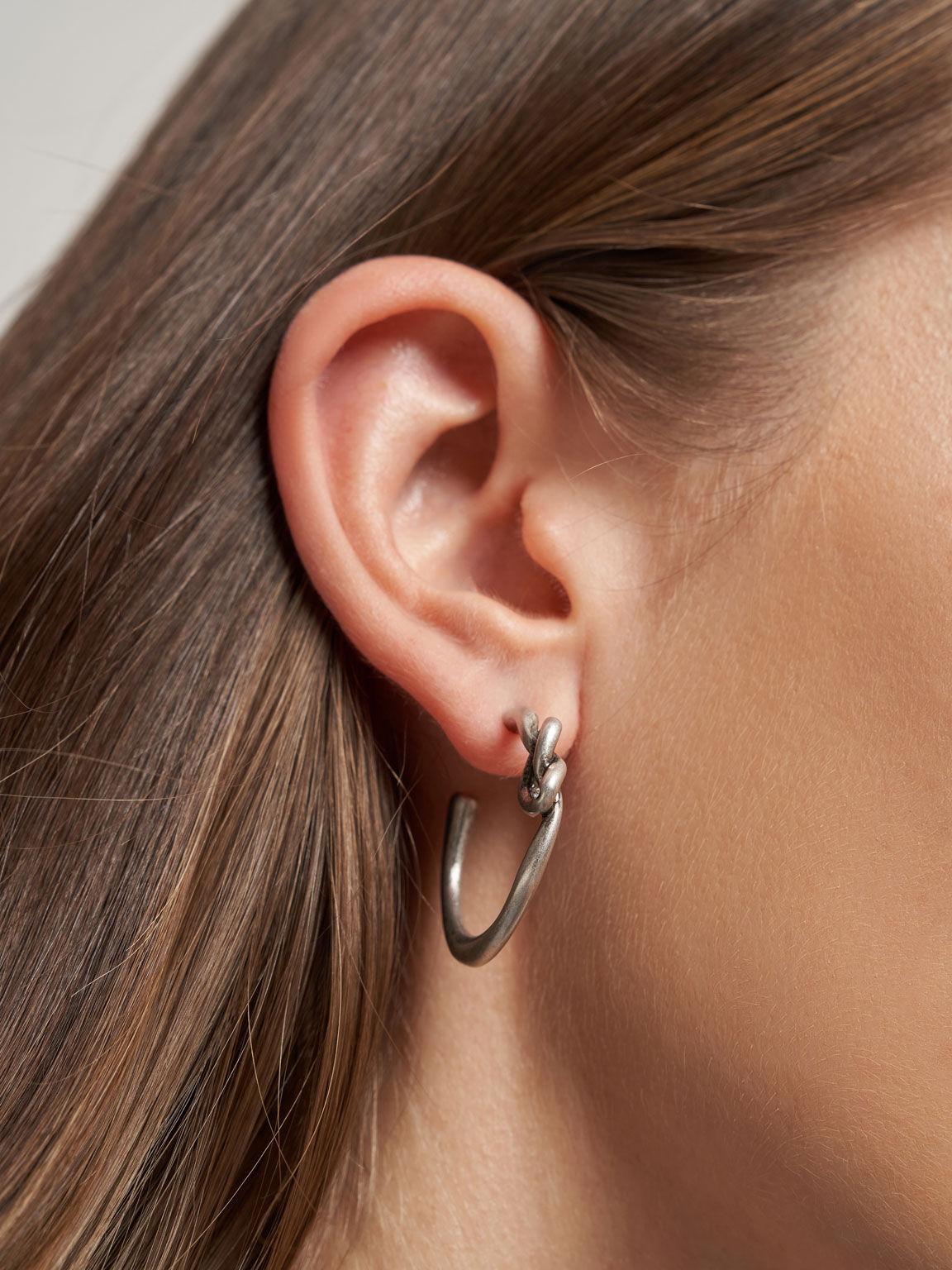 Swarovski® Crystal Embellished Heart Hoop Earrings, Silver, hi-res