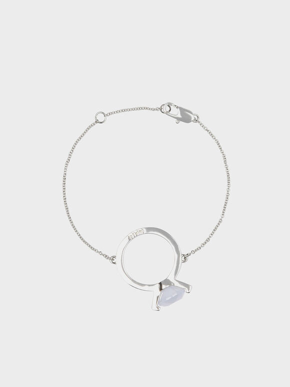 Chalcedony Stone Ring Bracelet, Silver, hi-res