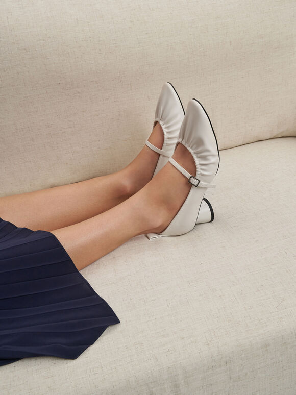 Ruched Mary Jane Pumps, Chalk, hi-res