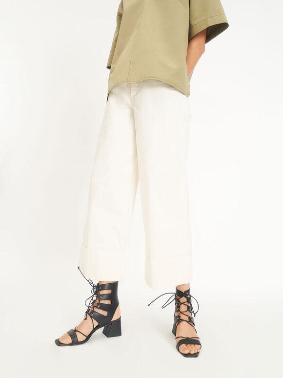 Tie-Around Sandals, Black, hi-res
