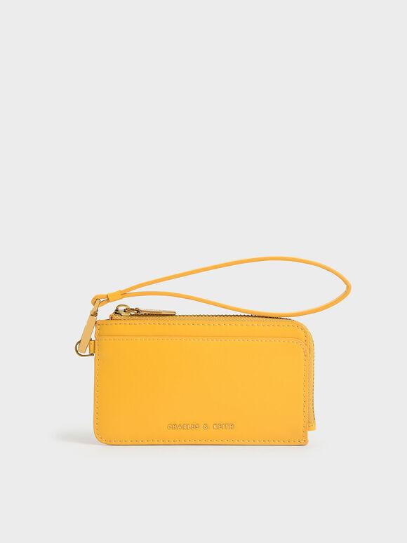 Zip-Around Wristlet Card Holder, Mustard, hi-res