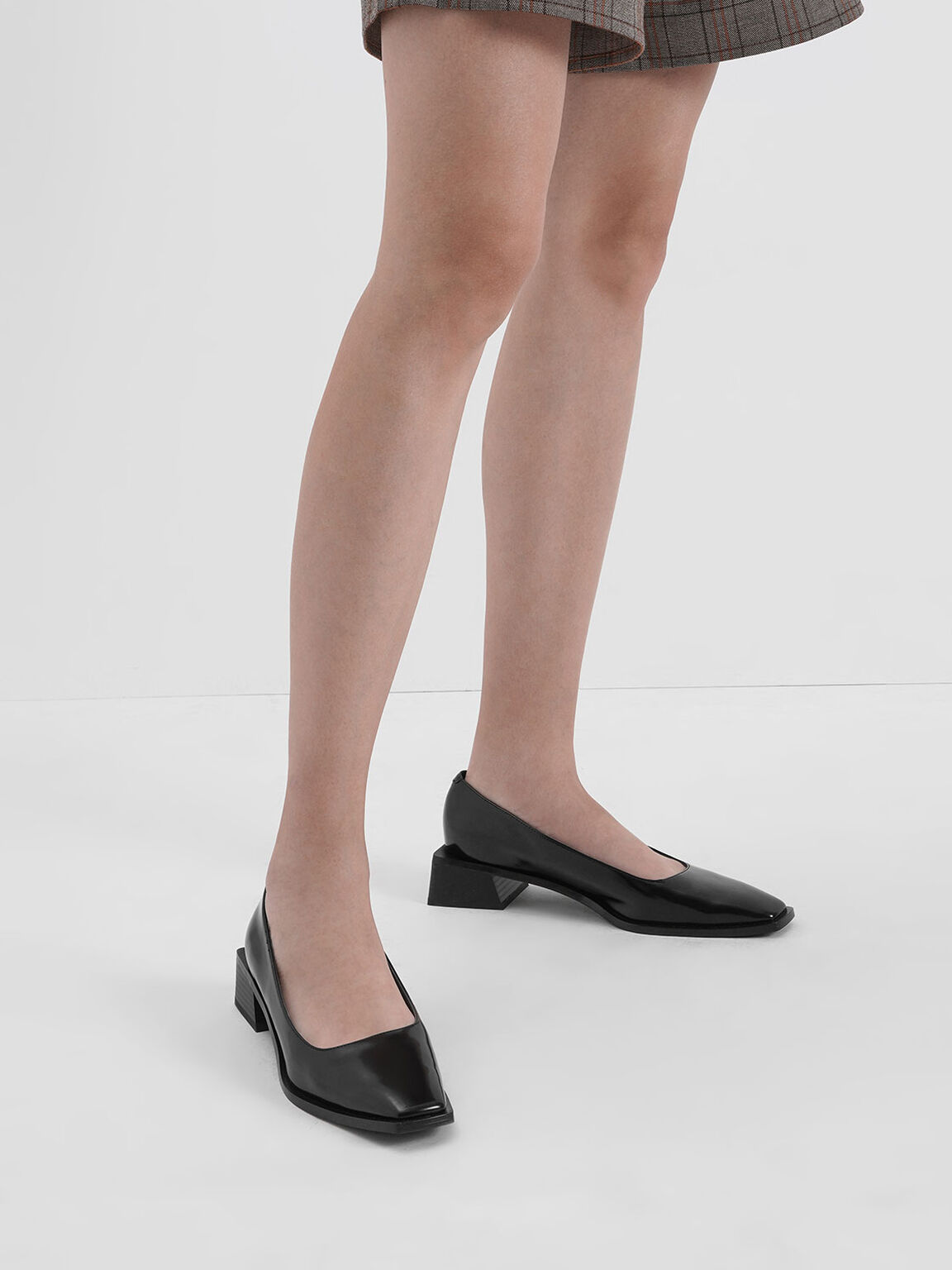 Square Toe Block Heel Pumps, Black, hi-res