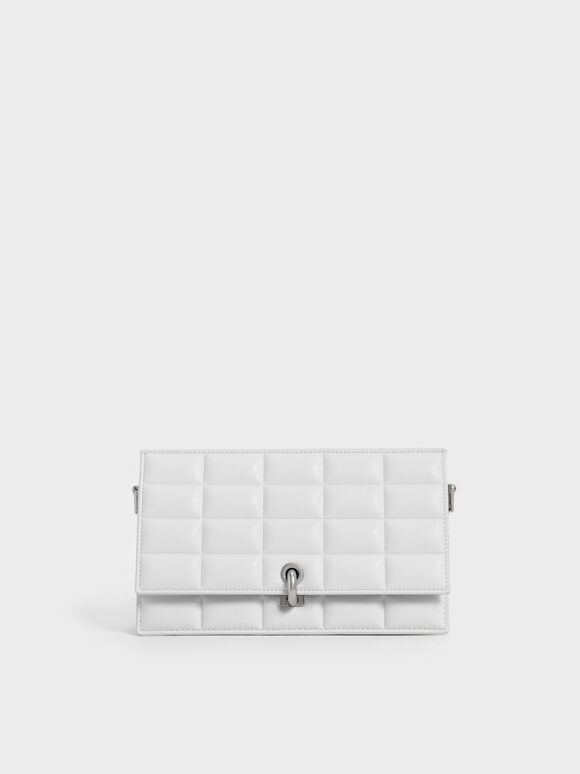 Padded Turn-Lock Long Wallet, White, hi-res