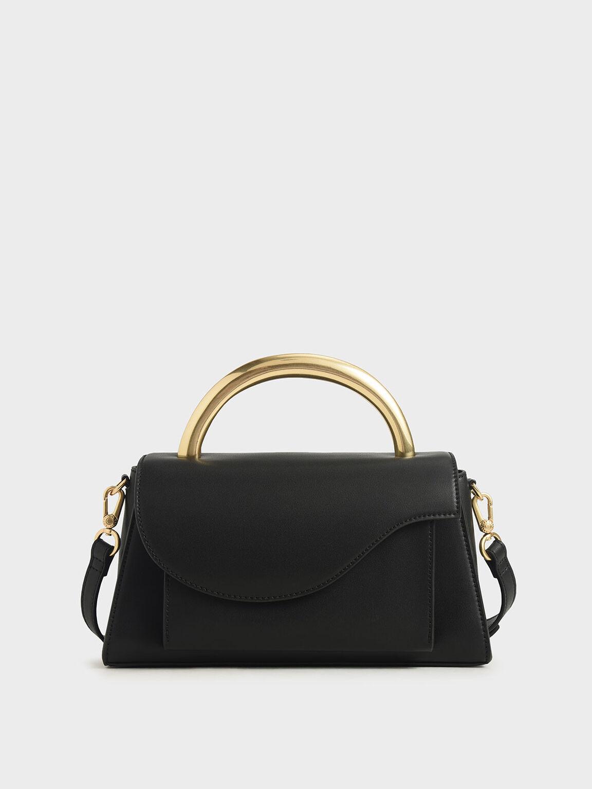 Angular Flap Metallic Top Handle Bag, Black, hi-res