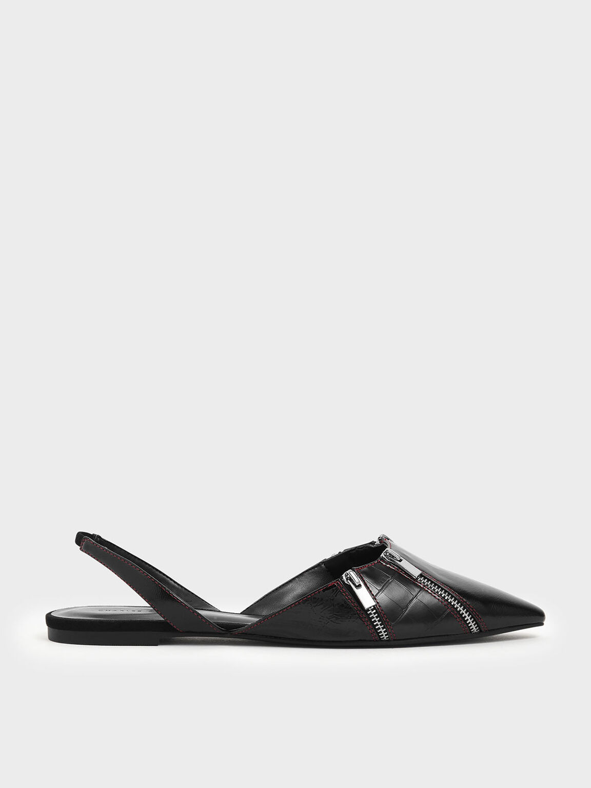 Wrinkled Patent Zip Detail Pointed Toe Slingback Flats, Black, hi-res