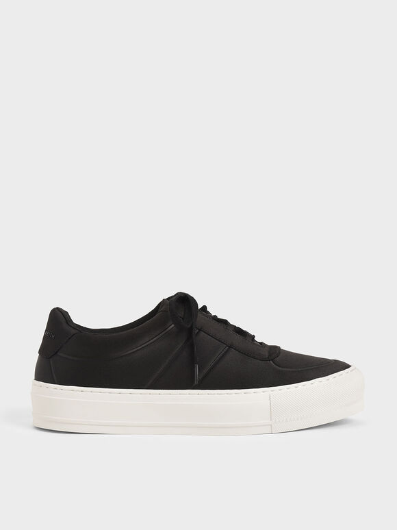 Satin Platform Trainers, Black, hi-res