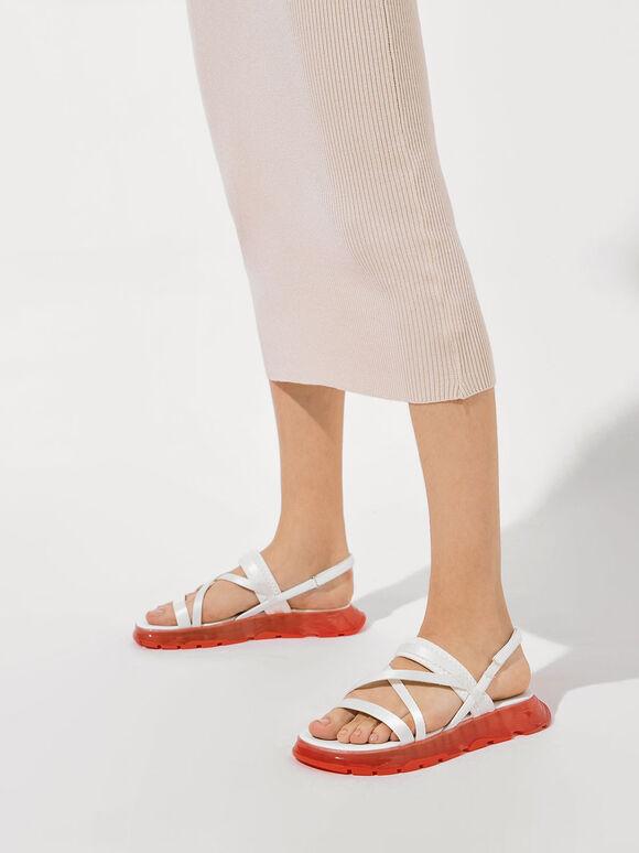Grosgrain Strappy Flatform Sandals, White, hi-res