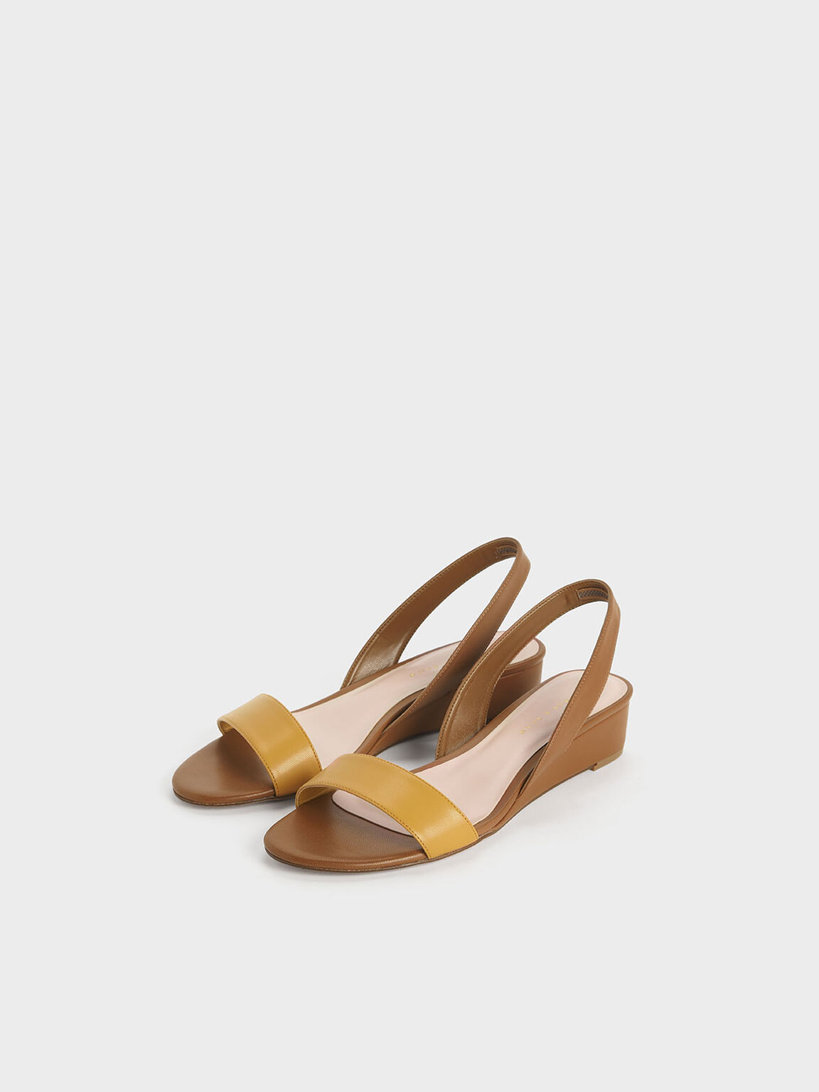 Two-Tone Low Slingback Wedges, Brown, hi-res