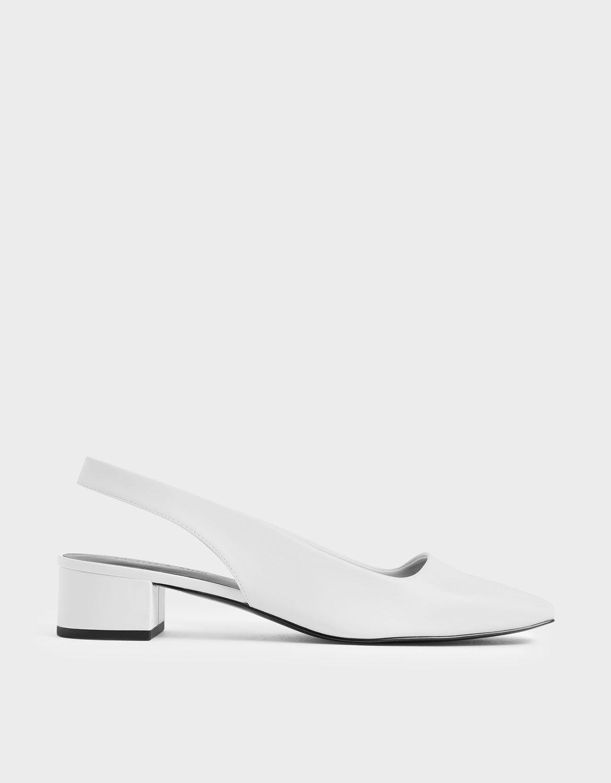 White Square Toe Block Heel Slingback