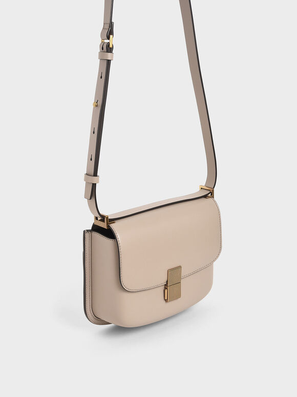 Metallic Push-Lock Shoulder Bag, Sand, hi-res