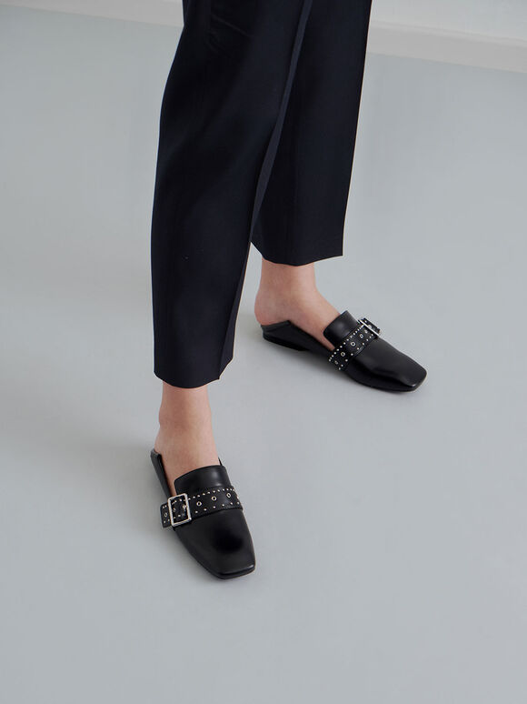 Grommet Buckle Step-Back Loafers, Black, hi-res