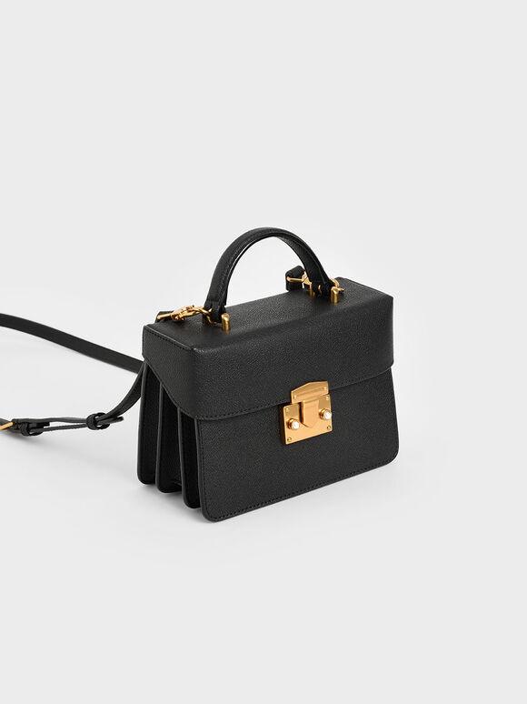 Metallic Push-Lock Boxy Bag, Black, hi-res