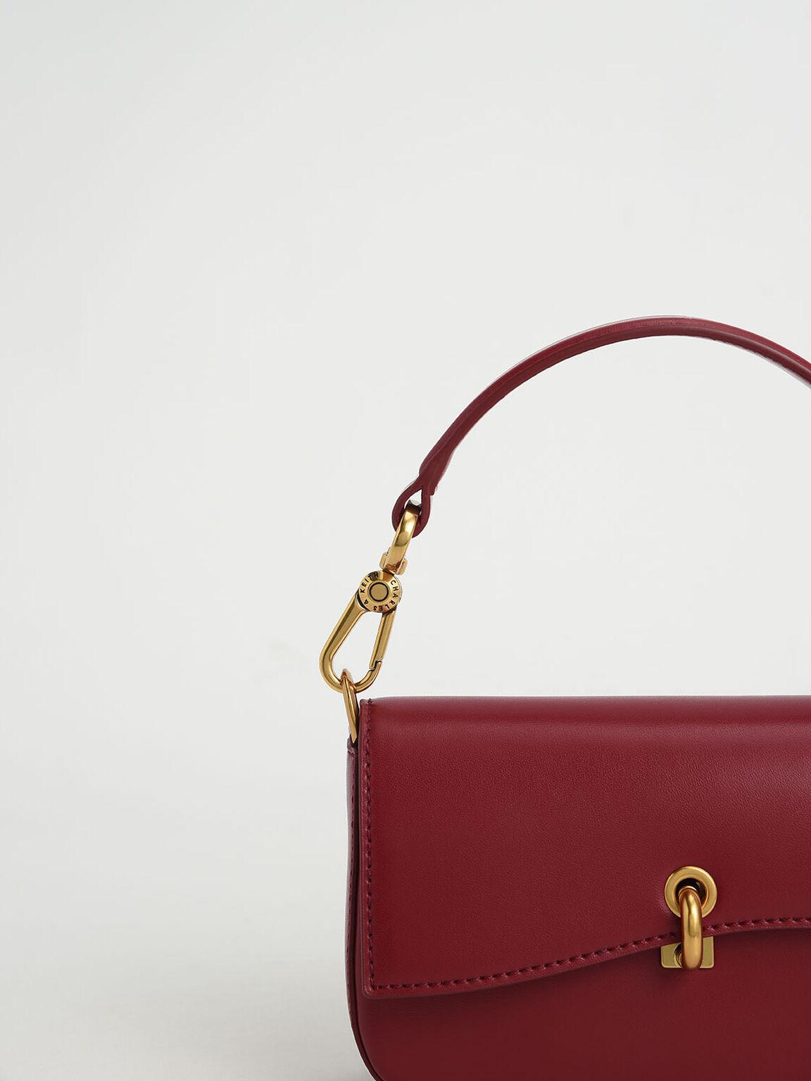 Metallic Turn-Lock Crossbody Bag, Red, hi-res