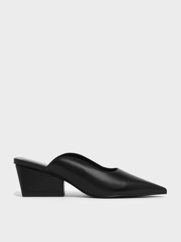 Pointed Toe Wedge Heel Mules, Black, hi-res