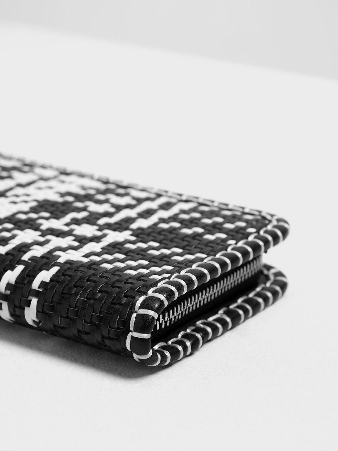 Woven Tassel Zip Around Wallet, Black, hi-res