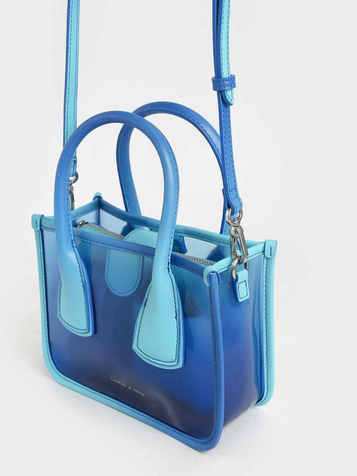 See-Through Effect Handbag, Blue, hi-res
