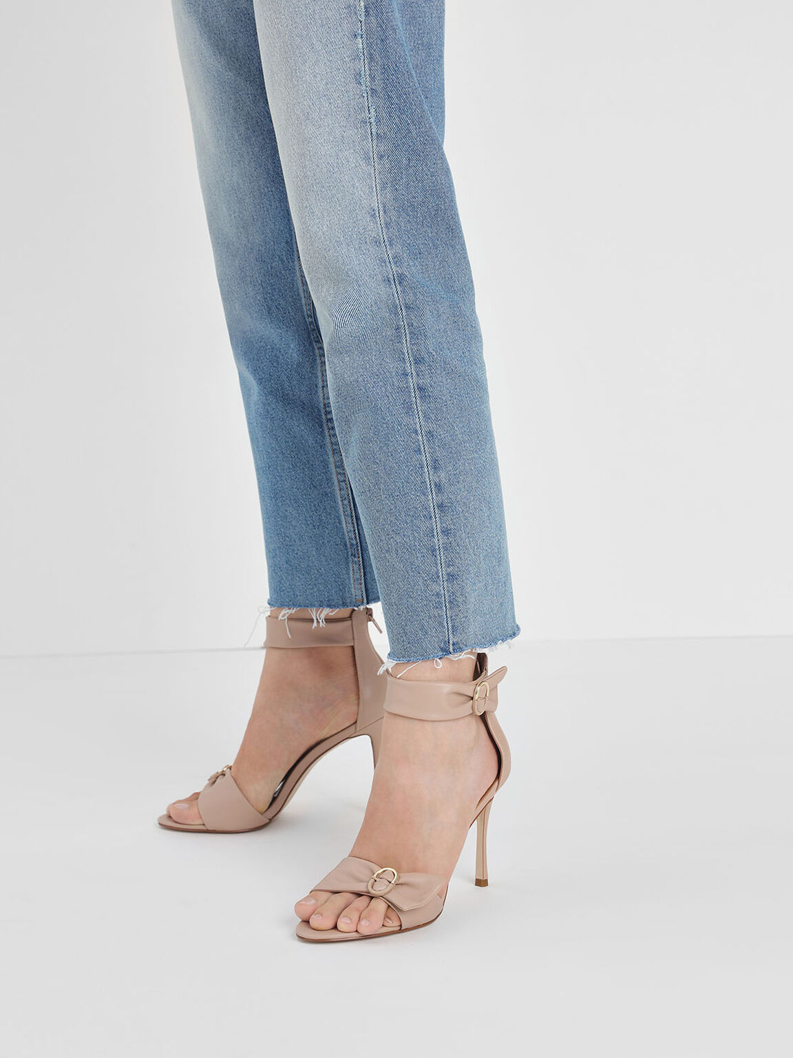 Ruched Two-Tone Buckle Stiletto Heels, Nude, hi-res