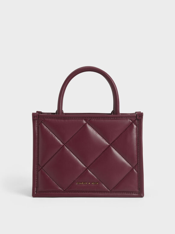 Quilted Double Handle Tote Bag, Burgundy, hi-res