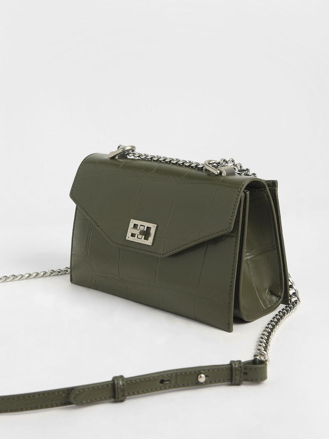 Croc-Effect Turn-Lock Crossbody Bag, Olive, hi-res