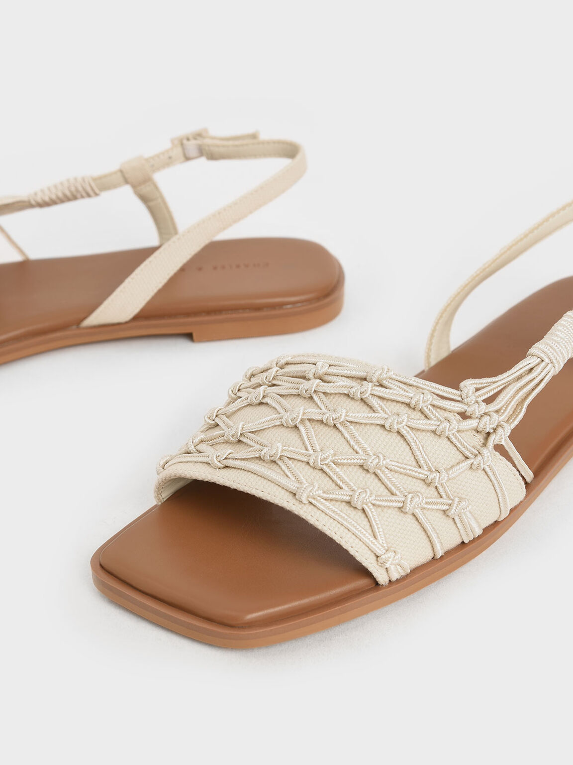 Knotted Rope Slingback Sandals, Cream, hi-res