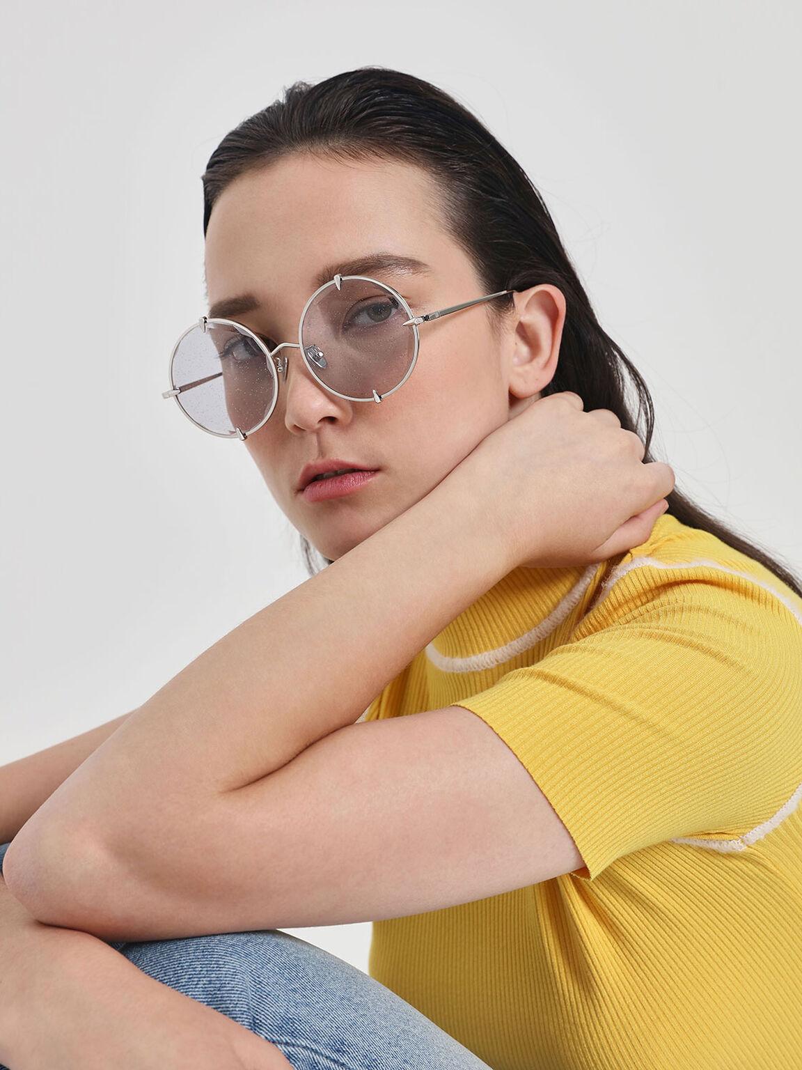 Round Wire Frame Skinny Sunglasses, Grey, hi-res