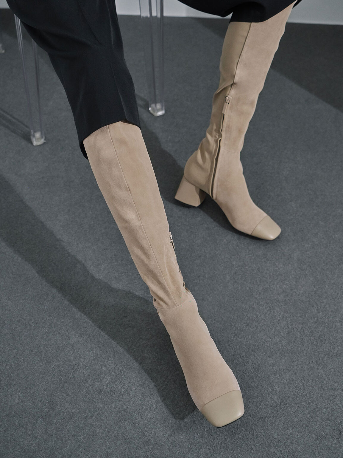 Leather & Kid Suede Thigh High Boots, Sand, hi-res