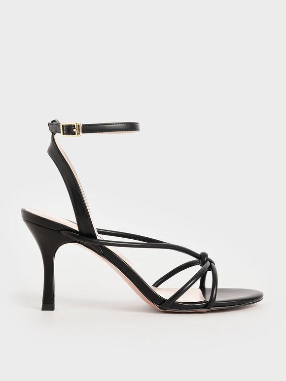 Front Knot Heeled Sandals, Black, hi-res