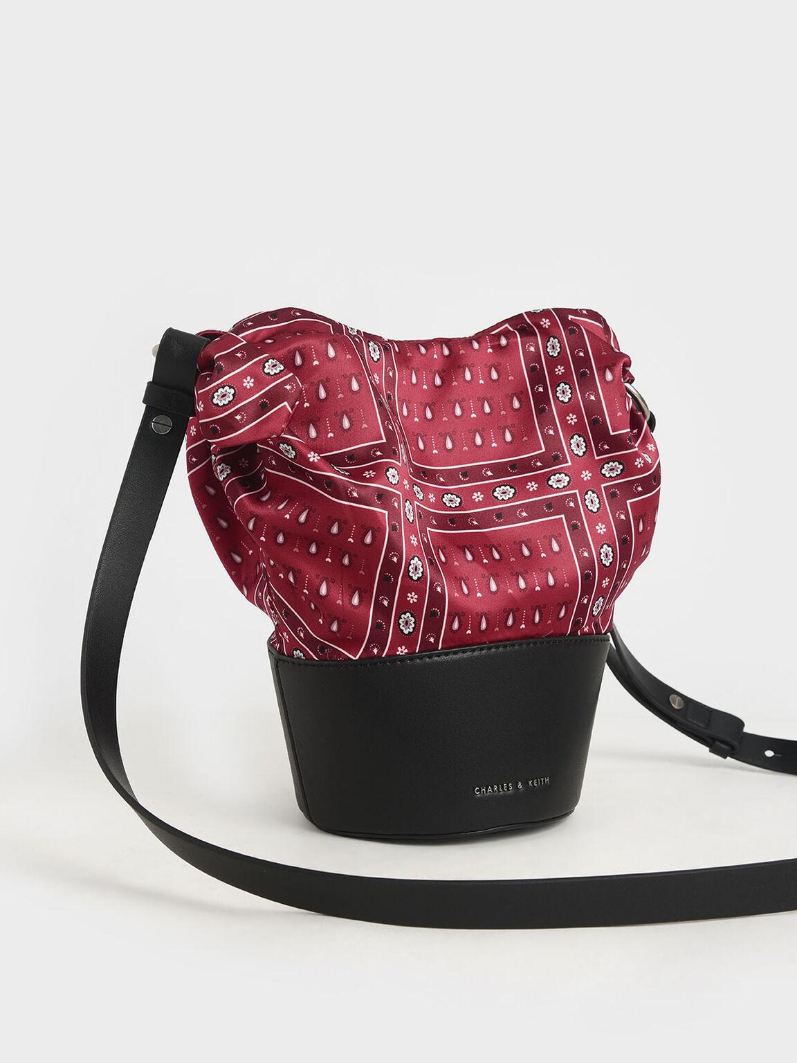 The Purpose Collection - Bandana Print Bucket Bag, Red, hi-res
