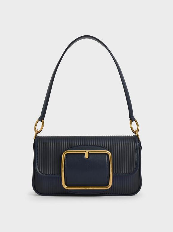 Acrylic Chain Handle Shoulder Bag, Navy, hi-res