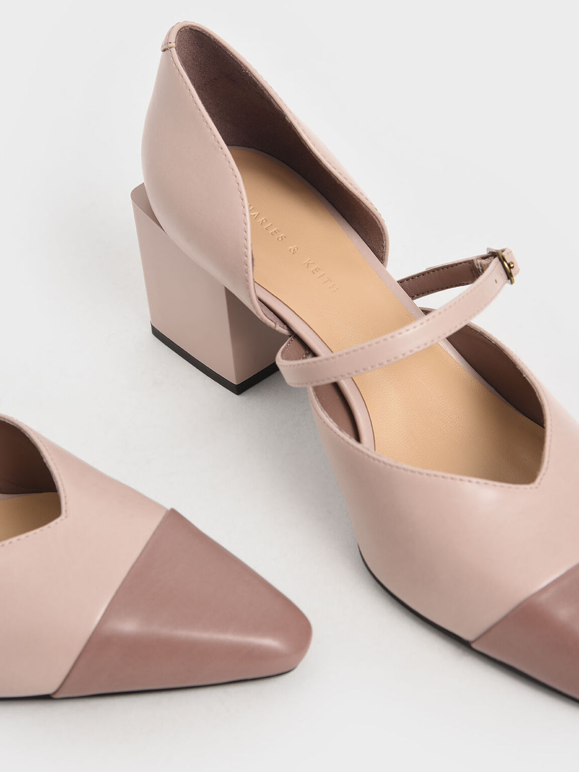 Two-Tone Mary Jane Block Heel Pumps, Nude, hi-res