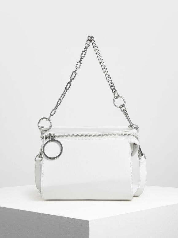 Ring Zip Bag, White, hi-res