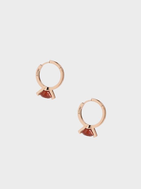 Red Jasper Stone Huggie Hoop Earrings, Rose Gold, hi-res