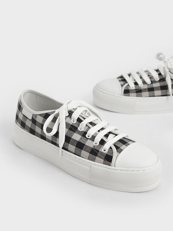 Gingham Sneakers, Black, hi-res