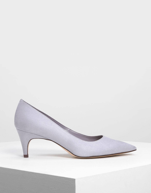 Light Grey Classic Kitten Heel Pumps