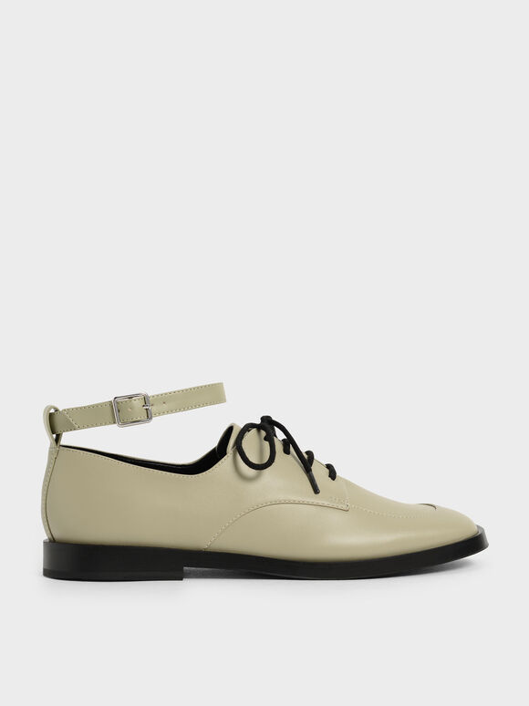 Ankle Strap Derby Shoes, Sage Green, hi-res