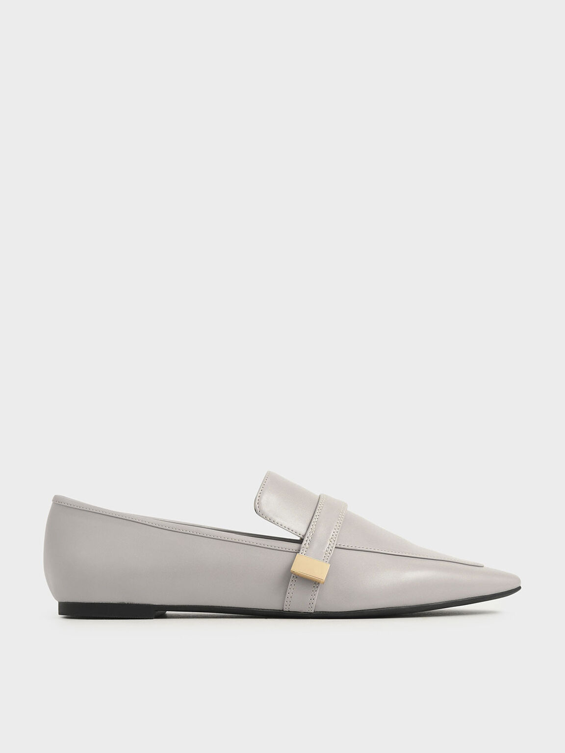 Metal Accent Loafers, Nude, hi-res