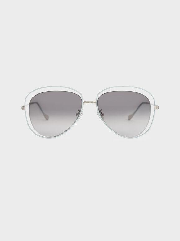 Cut-Out Aviator Sunglasses, Silver, hi-res