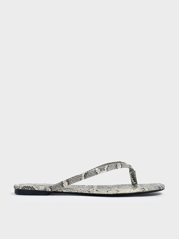Snake Print Thong Sandals, Grey, hi-res