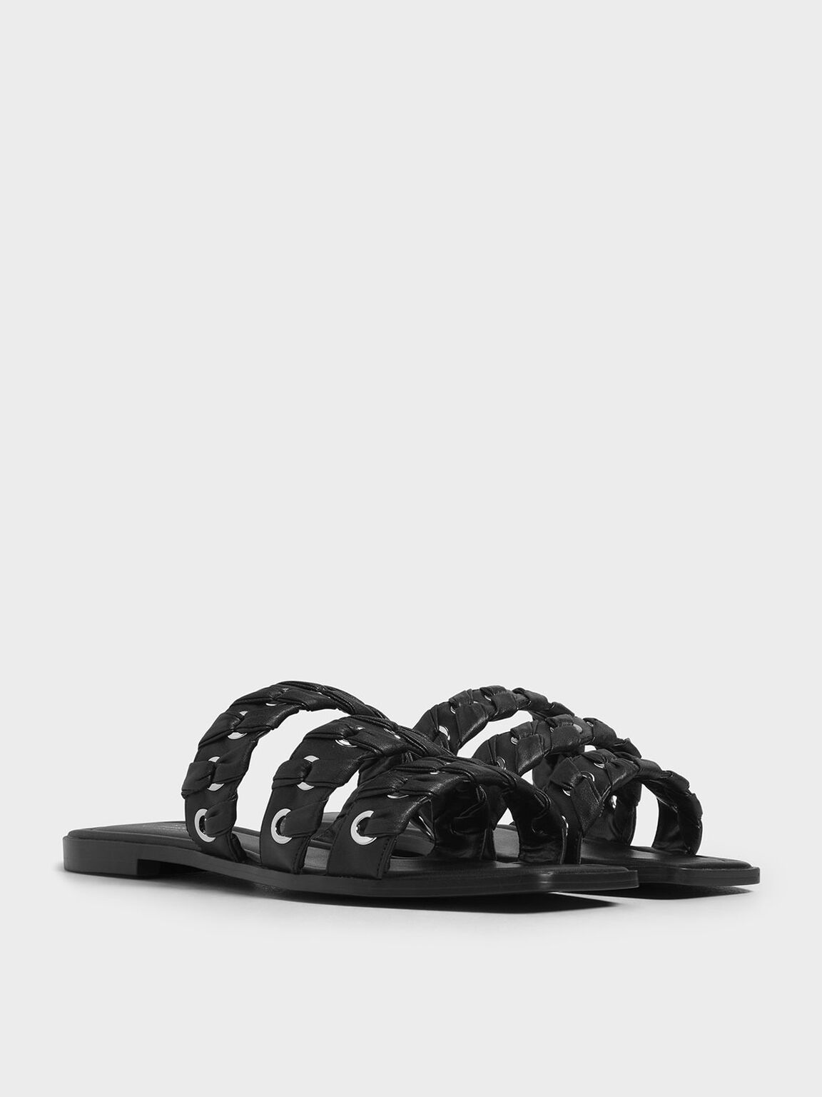 Weave Detail Leather Slide Sandals, Black, hi-res
