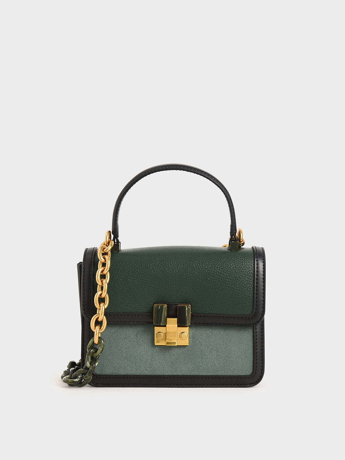 Small Chunky Chain Strap Bag, Green, hi-res
