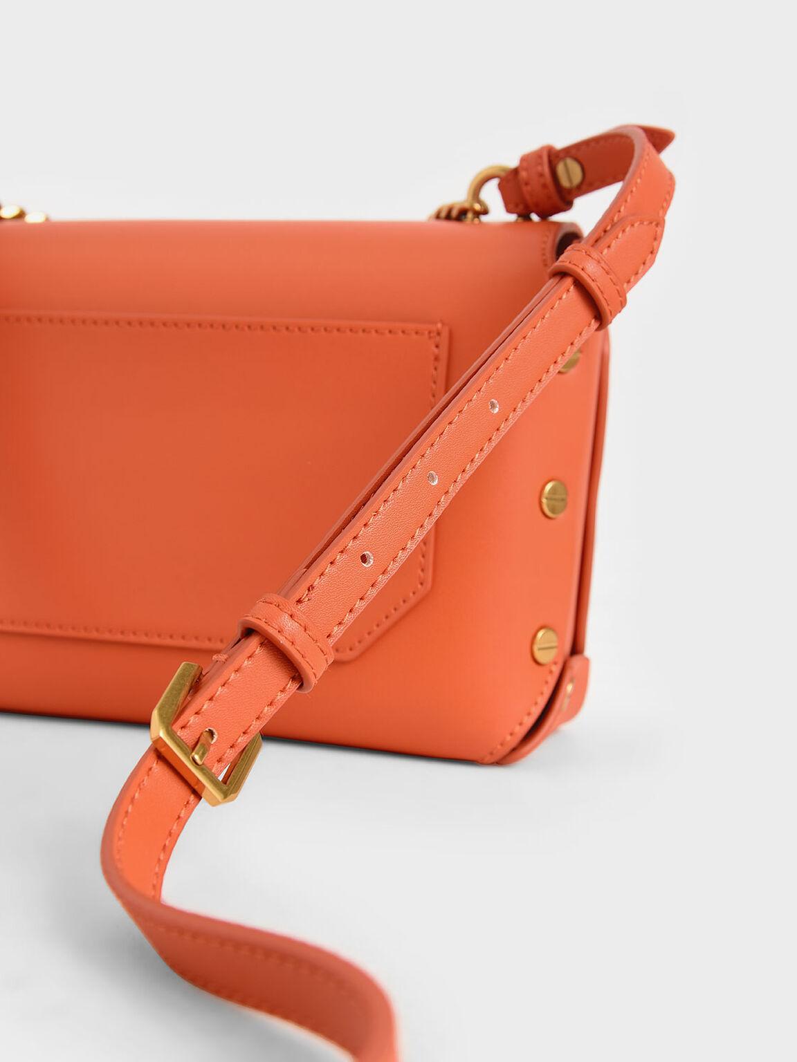 Studded Chain Link Shoulder Bag, Orange, hi-res