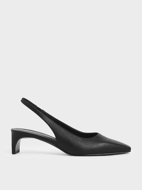 Blade Heel Slingback Pumps, Black, hi-res