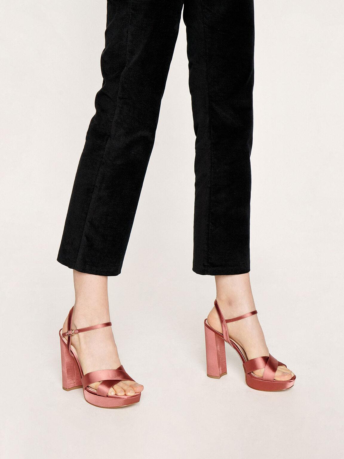 Satin Platform Heels, Pink, hi-res